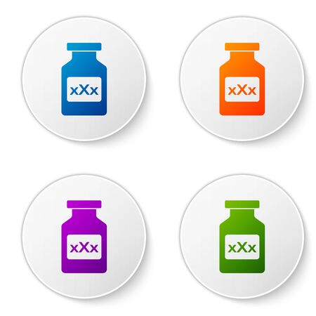 Color Medicine bottle with pills for potency, aphrodisiac icon isolated on white background. Sex pills for men and women. Set icons in circle buttons. Vector Illustration