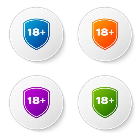 Color Shield with inscription 18 plus icon isolated on white background. Adults content only. Protection, safety, security, protect concept. Set icons in circle buttons. Vector Illustration