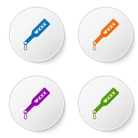 Color Spanking paddle icon isolated on white background. Fetish accessory. Sex toy for adult. Set icons in circle buttons. Vector Illustration Vettoriali