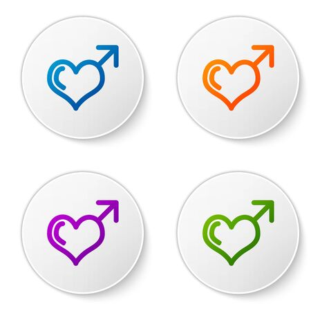 Color Male gender symbol and heart icon isolated on white background. Set icons in circle buttons. Vector Illustration