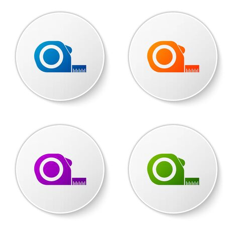 Color Roulette construction icon isolated on white background. Tape measure symbol. Set icons in circle buttons. Vector Illustration