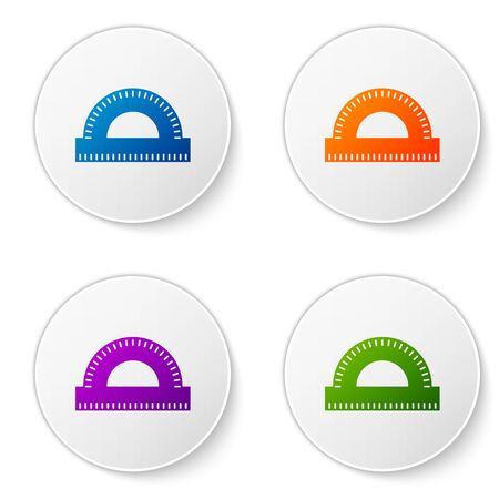Color Protractor grid for measuring degrees icon isolated on white background. Tilt angle meter. Measuring tool. Geometric symbol. Set icons in circle buttons. Vector Illustration