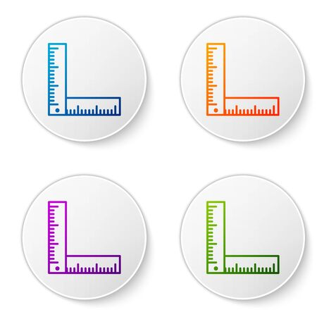 Color Folding ruler icon isolated on white background. Set icons in circle buttons. Vector Illustration Stock Illustratie
