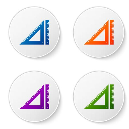 Color Triangular ruler icon isolated on white background. Straightedge symbol. Geometric symbol. Set icons in circle buttons. Vector Illustration
