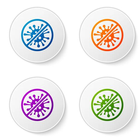 Color Stop virus, bacteria, germs and microbe icon isolated on white background. Antibacterial and antiviral defence, protection infection. Set icons in circle buttons. Vector Illustration