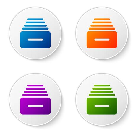 Color Drawer with documents icon isolated on white background. Archive papers drawer. File Cabinet Drawer. Office furniture. Set icons in circle buttons. Vector Illustration
