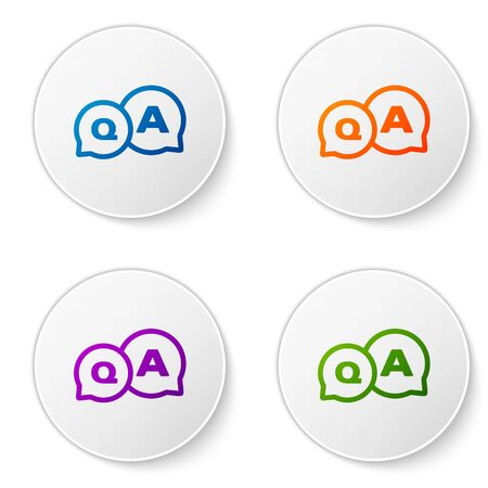 Color Speech bubbles with Question and Answer icon isolated on white background. Q and A symbol. FAQ sign. Chat speech bubble and chart. Set icons in circle buttons. Vector Illustration