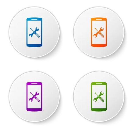 Color Smartphone with screwdriver and wrench icon isolated on white background. Adjusting, service, setting, maintenance, repair, fixing. Set icons in circle buttons. Vector Illustration