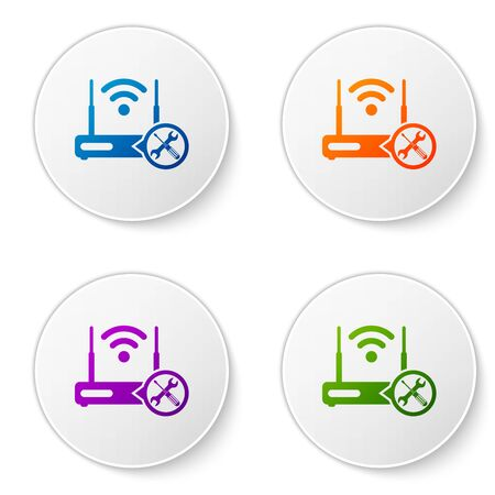 Color Router internet with screwdriver and wrench icon isolated on white background. Adjusting, service, setting, maintenance, repair, fixing. Set icons in circle buttons. Vector Illustration