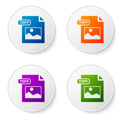 Color TIFF file document  Download tiff button icon isolated