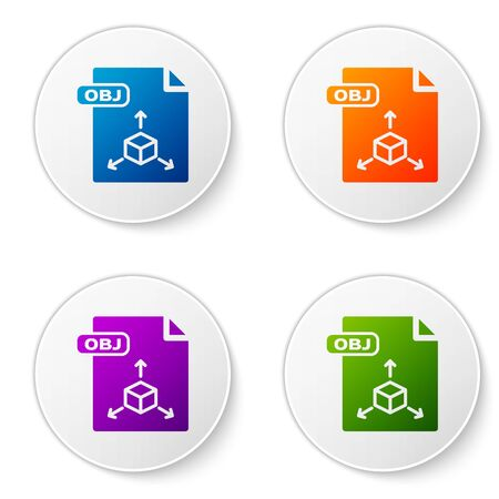 Color OBJ File Document  Download Obj Button Icon Isolated On