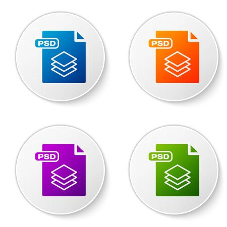 Color PSD file document. Download psd button icon isolated on white background. PSD file symbol. Set icons in circle buttons. Vector Illustration