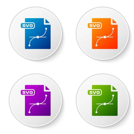 Color SVG file document. Download svg button icon isolated on white background. SVG file symbol. Set icons in circle buttons. Vector Illustration