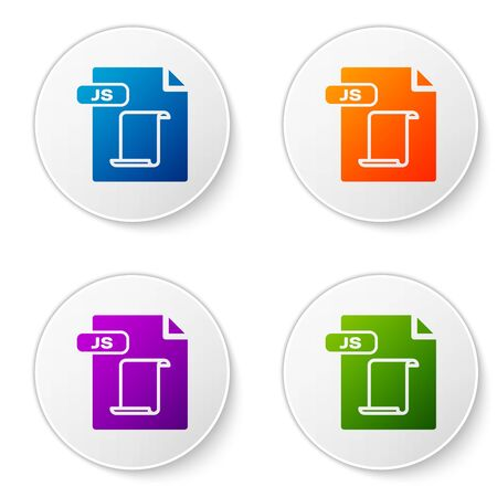 Color JS file document. Download js button icon isolated on white background. JS file symbol. Set icons in circle buttons. Vector Illustration