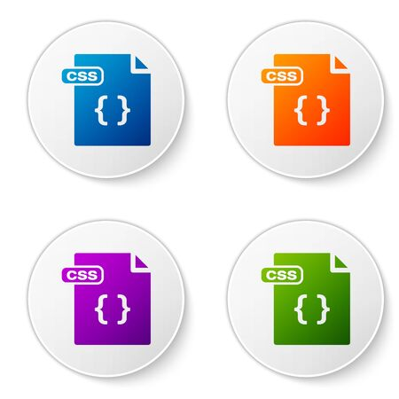 Color CSS file document. Download css button icon isolated on white background. CSS file symbol. Set icons in circle buttons. Vector Illustration