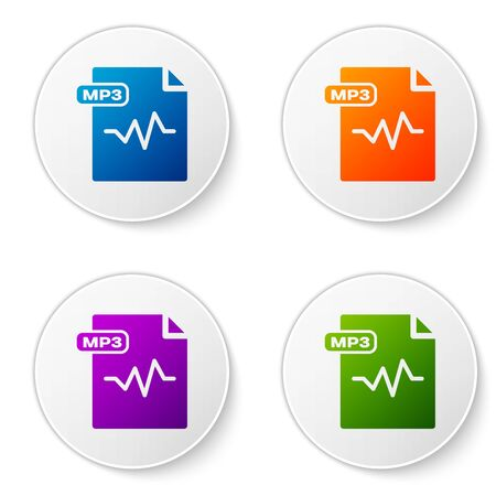 Color MP3 file document. Download mp3 button icon isolated on white background. Mp3 music format sign. MP3 file symbol. Set icons in circle buttons. Vector Illustration