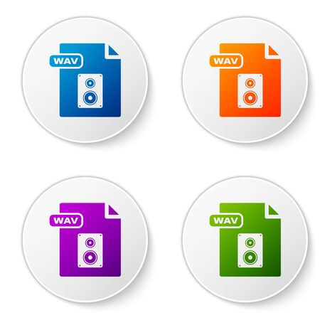 Color WAV file document. Download wav button icon isolated on white background. WAV waveform audio file format for digital audio riff files. Set icons in circle buttons. Vector Illustration
