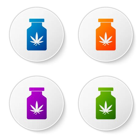 Color Medical bottle with marijuana or cannabis leaf icon isolated on white background. Mock up of cannabis oil extracts in jars. Set icons in circle buttons. Vector Illustration