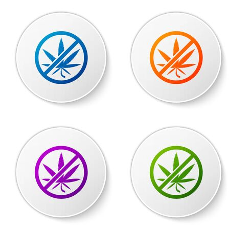 Color Stop marijuana or cannabis leaf icon isolated on white background. No smoking marijuana. Hemp symbol. Set icons in circle buttons. Vector Illustration