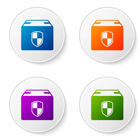 Color Delivery pack security symbol with shield icon isolated on white background. Delivery insurance. Insured cardboard boxes beyond the shield. Set icons in circle buttons. Vector Illustration Vectores