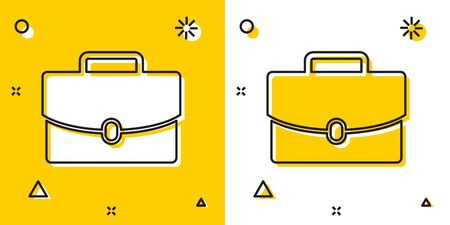 Black Briefcase icon isolated on yellow and white background. Business case sign. Business portfolio. Random dynamic shapes. Vector Illustration