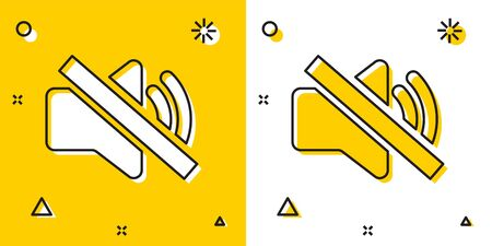 Black Speaker mute icon isolated on yellow and white background. No sound icon. Volume Off symbol. Random dynamic shapes. Vector Illustration