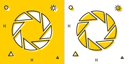 Black Camera shutter icon isolated on yellow and white background. Random dynamic shapes. Vector Illustration Vectores