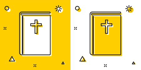 Black Holy bible book icon isolated on yellow and white background. Random dynamic shapes. Vector Illustration