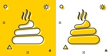 Black Shit icon isolated on yellow and white background. Random dynamic shapes. Vector Illustration
