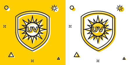 Black UV protection icon isolated on yellow and white background. Sun and shield. Ultra violet rays radiation. SPF sun sign. Random dynamic shapes. Vector Illustration