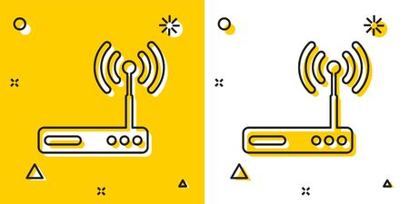 Black Router and wi-fi signal symbol icon isolated on yellow and white background. Wireless ethernet modem router. Computer technology internet. Random dynamic shapes. Vector Illustration Illustration
