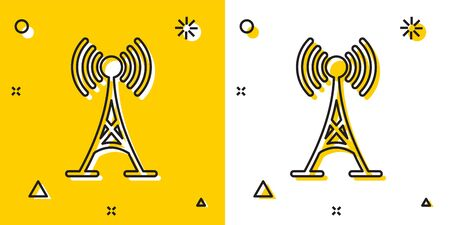 Black Antenna icon isolated on yellow and white background. Radio antenna wireless. Technology and network signal radio antenna. Random dynamic shapes. Vector Illustration