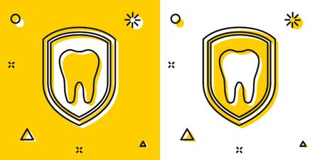 Black Dental protection icon isolated on yellow and white background. Tooth on shield logo icon. Random dynamic shapes. Vector Illustration