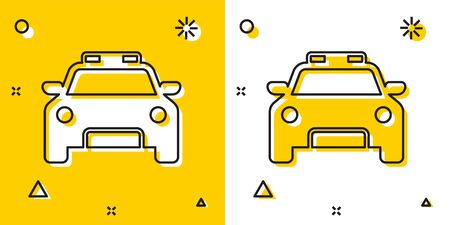 Black Police car and police flasher icon isolated on yellow and white background. Emergency flashing siren. Random dynamic shapes. Vector Illustration