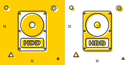 Black Hard disk drive HDD icon isolated on yellow and white background. Random dynamic shapes. Vector Illustration Illusztráció