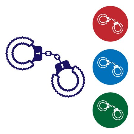 Blue Sexy fluffy handcuffs icon isolated on white background. Handcuffs with fur. Fetish accessory. Sex shop stuff for sadist and masochist. Set color icon in circle buttons. Vector Illustration
