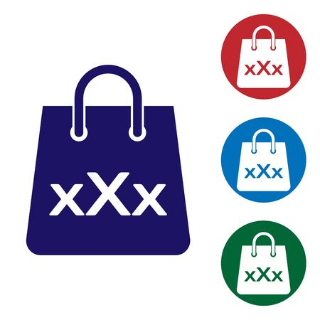 Blue Shopping bag with a triple X icon isolated on white background. Set color icon in circle buttons. Vector Illustration