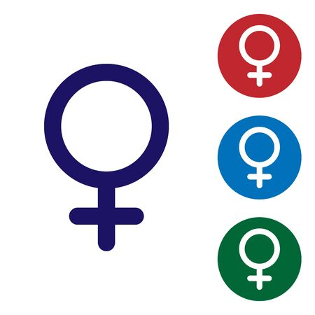 Blue Female gender symbol icon isolated on white background. Venus symbol. The symbol for a female organism or woman. Set color icon in circle buttons. Vector Illustration Ilustração