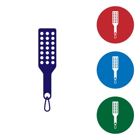 Blue Spanking paddle icon isolated on white background. Fetish accessory. Sex toy for adult. Set color icon in circle buttons. Vector Illustration Vettoriali
