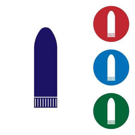 Blue Dildo for games icon isolated on white background. Sex toy for adult. Vaginal exercise machines for intimate. Set color icon in circle buttons. Vector Illustration