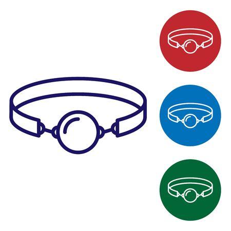 Bavaglio a sfera in silicone blu con un'icona di cintura in pelle isolata su sfondo bianco. Accessorio fetish. Giocattolo del sesso per uomini e donne. Imposta l'icona del colore nei pulsanti del cerchio. illustrazione vettoriale Vettoriali