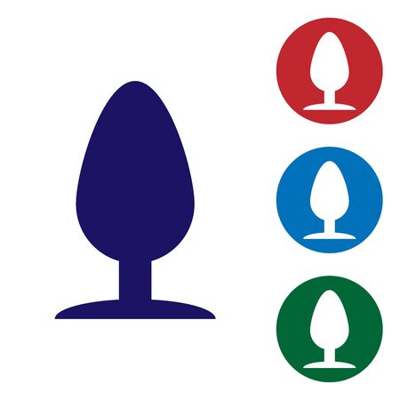 Blue Anal plug icon isolated on white background. Butt plug sign. Fetish accessory. Sex toy for men and woman. Set color icon in circle buttons. Vector Illustration