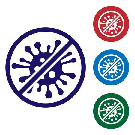 Blue Stop Virus, Bakterien, Keime und Mikroben-Symbol auf weißem Hintergrund. Antibakterielle und antivirale Abwehr, Schutzinfektion. Legen Sie das Farbsymbol in den Kreistasten fest. Vektorillustration