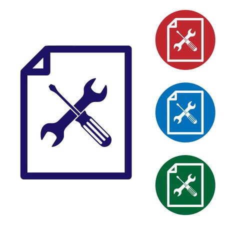 Blue File document with screwdriver and wrench icon isolated on white background. Adjusting, service, setting, maintenance, repair, fixing. Set color icon in circle buttons. Vector Illustration