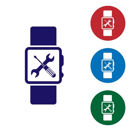 Blue Smartwatch with screwdriver and wrench icon isolated on white background. Adjusting, service, setting, maintenance, repair, fixing. Set color icon in circle buttons. Vector Illustration