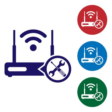 Blue Router wi-fi with screwdriver and wrench icon isolated on white background. Adjusting, service, setting, maintenance, repair, fixing. Set color icon in circle buttons. Vector Illustration