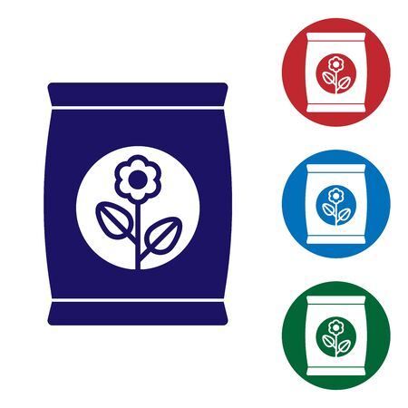 Blue Fertilizer bag icon isolated on white background. Set color icon in circle buttons. Vector Illustration
