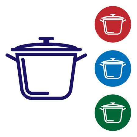 Blue Cooking pot icon isolated on white background. Boil or stew food symbol. Set color icon in circle buttons. Vector Illustration