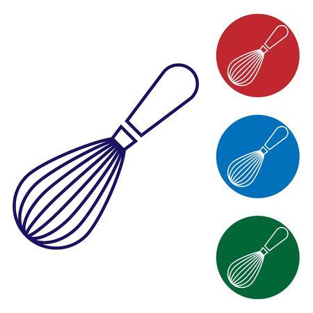 Blaue Küche Schneebesen-Symbol auf weißem Hintergrund. Kochgerät, Schneebesen. Besteck-Zeichen. Symbol für Lebensmittelmischung. Legen Sie das Farbsymbol in den Kreistasten fest. Vektorillustration Vektorgrafik