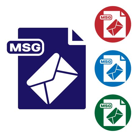 Blue MSG file document. Download msg button icon isolated on white background. MSG file symbol. Set color icons in circle buttons. Vector Illustration